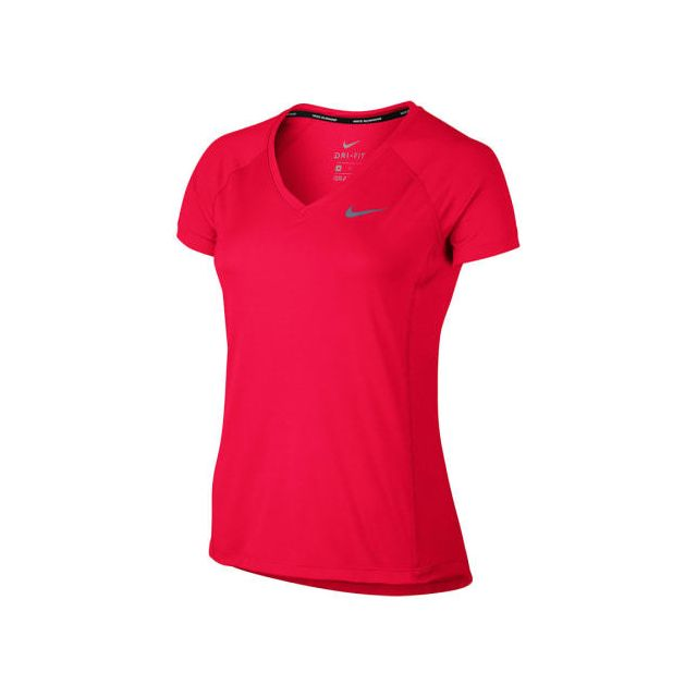 6ac3b1d32aa7 Nike - Tee-shirt Dry Miler V-neck manches courtes rouge femme - pas ...