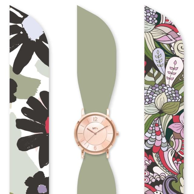 Bill'S Watch Montre Trend avec Bracelet foulard satin Khaki Green - Bill's watches