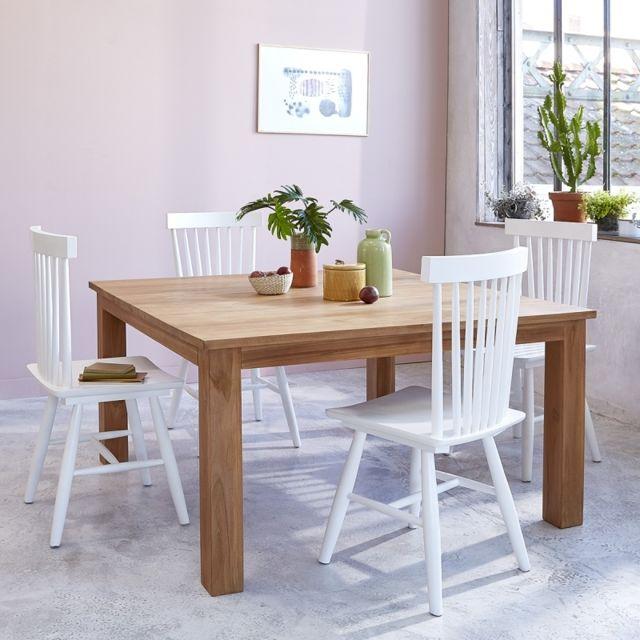 Bois Dessus Bois Dessous Table carrée en bois de teck 6 à 8 couverts