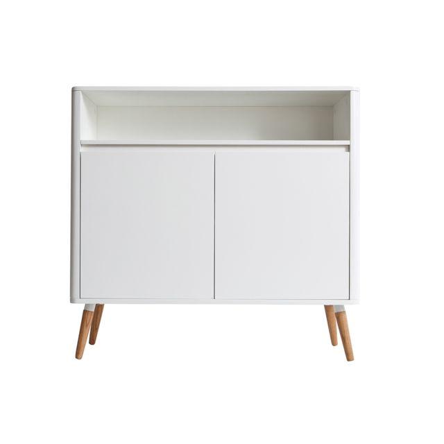 Miliboo Buffet design scandinave blanc et bois Totem