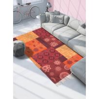 UN AMOUR DE TAPIS   Tapis De Salon Moderne Design TAPIS FRANGES ORANGE CRUSH