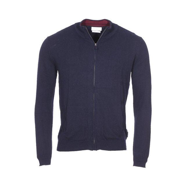 e92ca86e40a7 Harris Wilson - Gilet zippé Richie en coton et laine bleu marine - pas cher  Achat   Vente Gilet homme - RueDuCommerce