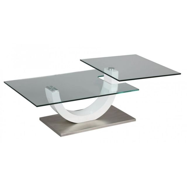 Inside 75 Table basse Knock en verre transparent plateaux pivotants