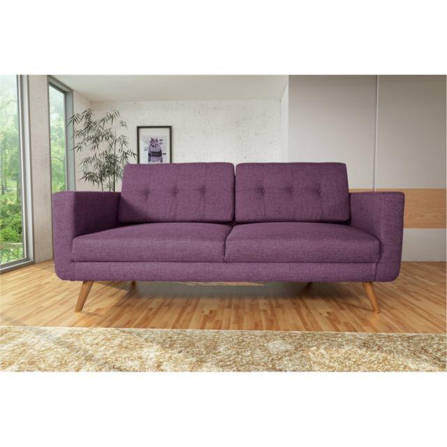 Rocambolesk Canapé Hedvig 3 savana 70 prune pieds naturels sofa divan