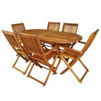 Malatec - Salon de jardin en bois naturel huilé 1 table + 6 chaises