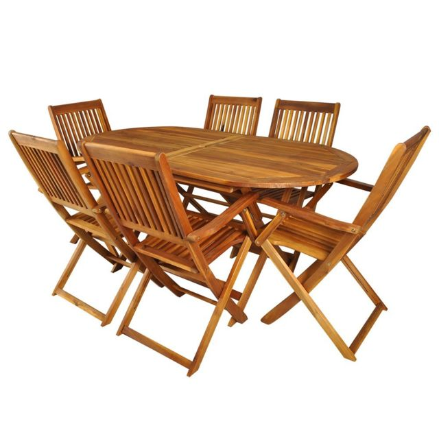 Malatec - Salon de jardin en bois naturel huilé 1 table + 6 ...