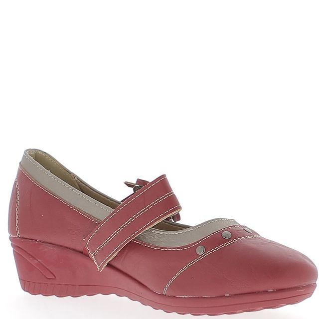 Chaussmoi Chaussures femme rouges confort talon compensé