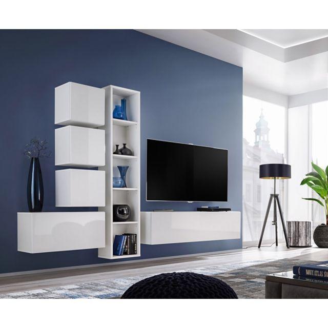 Meuble Tv Mural Design Blox Iii 280cm Blanc