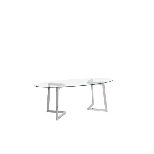 BELIANI Table basse argenté et plateau en verre FRESNO - transparent