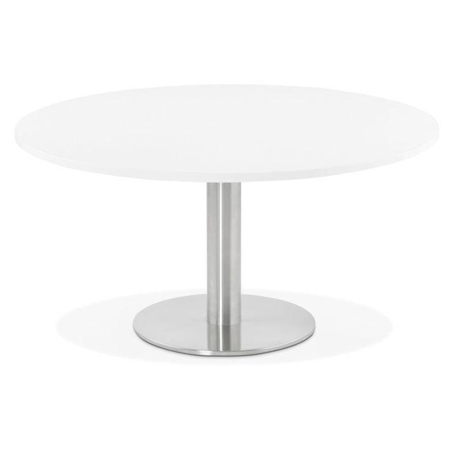 Alterego Table basse lounge Houston blanche - Ø 90 cm