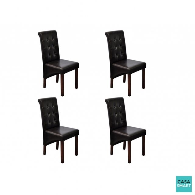 Casasmart Lot de 4 chaises Brown en simili cuir marron
