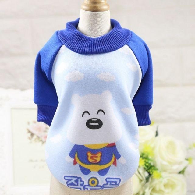 Wewoo Vêtements pour chien Miniature Pull Teddy animaux domestiques Col rond Toison décontractéeTaille Xs Blanc Bleu