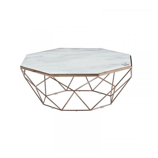 Dansmamaison Table basse Métal/Marbre - Coto - L 100 x l 100 x H 40 cm