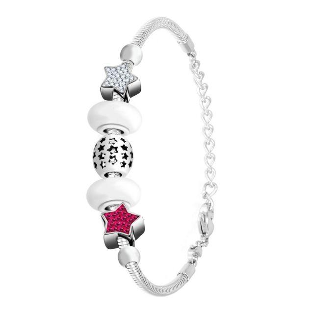 Sc Crystal Bracelet charm et acier par