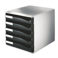 Leitz - Esselte Bloc de classement 5 tiroirs A4 noirs structure grise 29x28,7x35,5cm