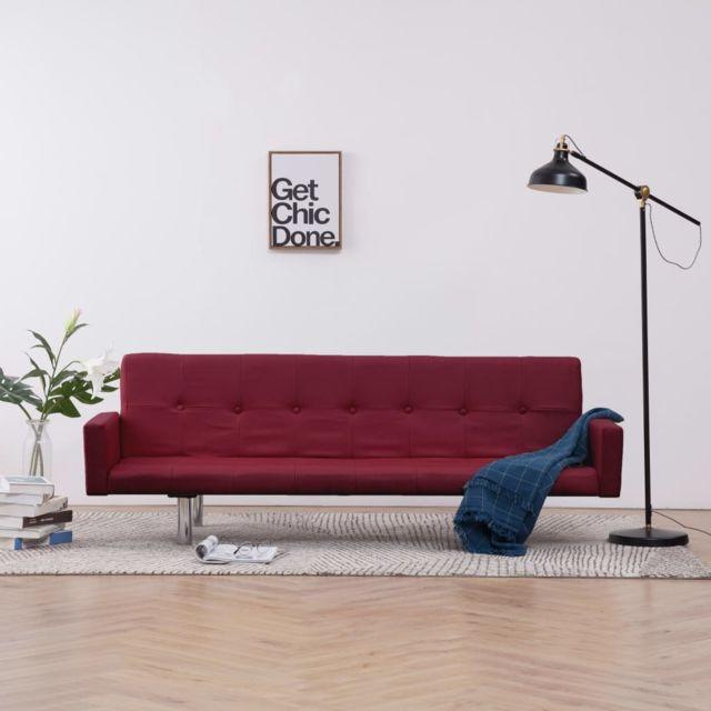 Moderne Meubles serie Thimphou Canapé-lit avec accoudoir Rouge bordeaux Polyester