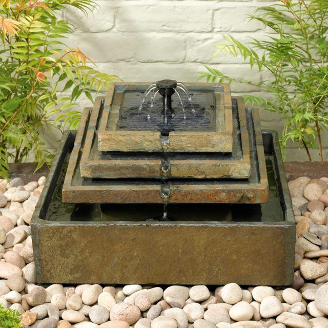 Fontaine De Jardin Solaire A Plusieurs Niveaux En Ardoise Temple