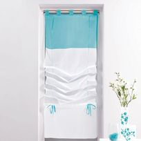 Decoline - Un store droit à passant - rideau voile bicolore blanc / bleu azur 45 x 180 cm