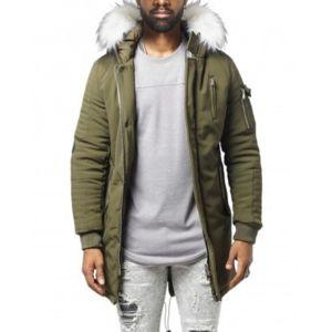 project x parka homme fashion kaki fourrure blanche pas cher achat vente blouson homme. Black Bedroom Furniture Sets. Home Design Ideas