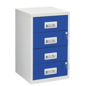 Classeur monobloc 4 tiroirs - gris bleu