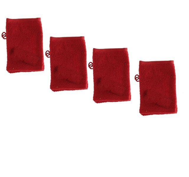 tex home lot de 4 gants rouge 15x21cm eponge bath pas cher achat vente gants de toilette. Black Bedroom Furniture Sets. Home Design Ideas