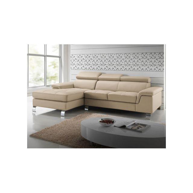 Canapé d'angle cuir MISHIMA - Taupe - Angle gauche