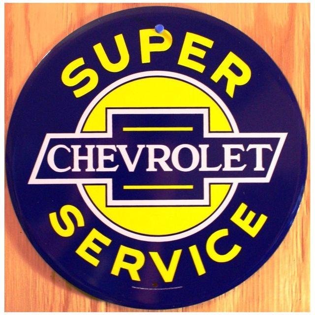 Universel Plaque chevrolet super servive ronde bnleu jaune deco usa
