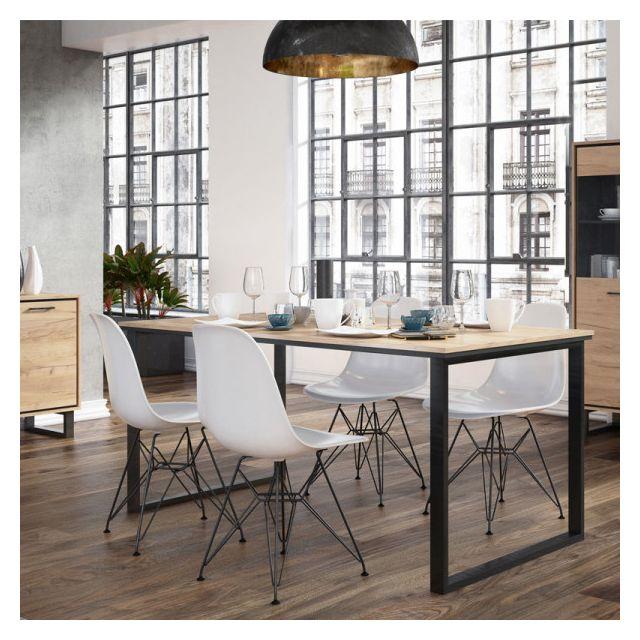 Dansmamaison Table de repas rectangulaire 160 cm Chêne blond/Noir - Doinio - L 160 x l 90 x H 75 cm