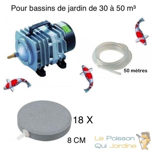 Le Poisson Qui Jardine Set aération bassin de jardin 18 disques 8 cm de 30000 à 50000 litres