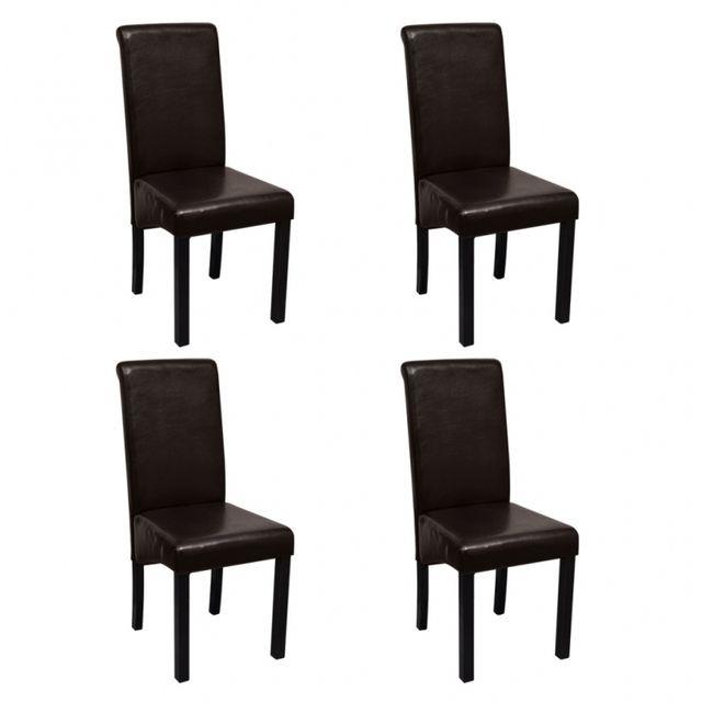 Casasmart Lot de 4 chaises en simili cuir marron