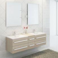 Import&DIFFUSION - Ensemble complet meuble salle de bain Pure 2 vasques 2 miroirs