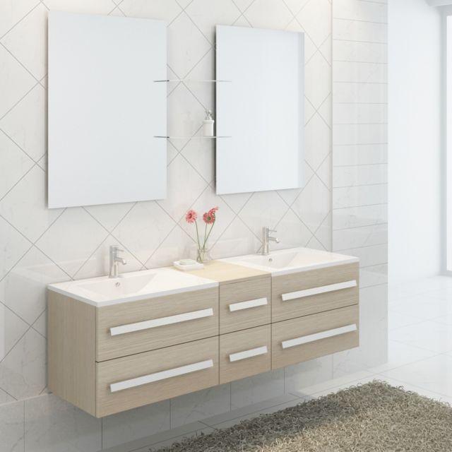 Import diffusion ensemble complet meuble salle de bain pure 2 vasques 2 miroirs pas cher - Meuble salle de bain complet ...