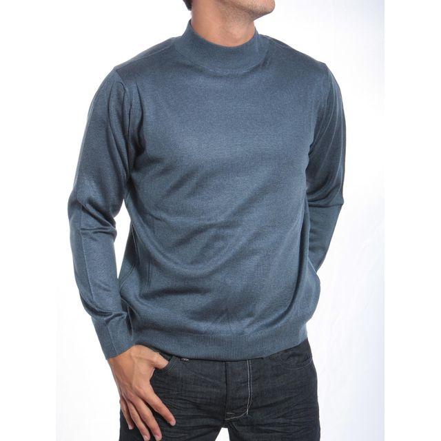 Pietro Liberti - Pull habillé Merinos Col Montant Indigo - pas cher Achat   Vente  Pull homme - RueDuCommerce 9d439300b277
