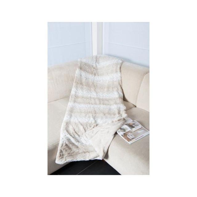 7fe6bced7033 Usines Discount - Plaid microfibre Fausse Fourrure 150x200 cm tigre blanc