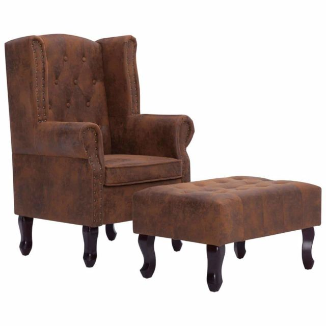 Helloshop26 Fauteuil chaise siège lounge design club sofa salon chesterfield et repose-pieds marron similicuir daim 1102228/2