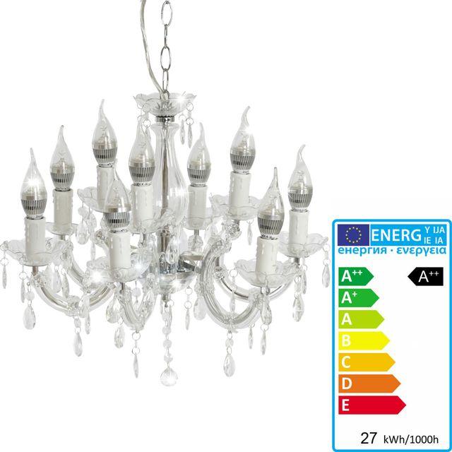 Mendler Lustre Led Hw154, lampe de suspension, 9 flammes, 27W Ee A++ ~ pur