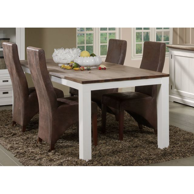 Sofamobili Grande table à manger contemporaine en bois massif blanc Estelle