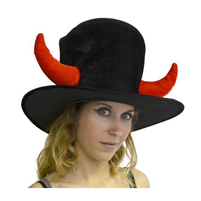 Haut de forme avec cornes rouges Noir - pas cher Achat   Vente Accessoires  déguisements - RueDuCommerce d5ce40d72cd