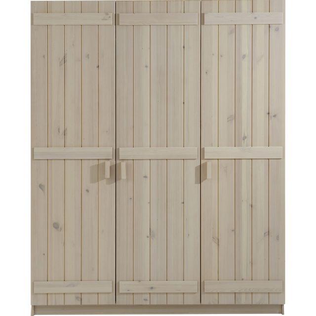 Comforium Armoire 3 portes pour enfant 151 cm en pin massif coloris blanc