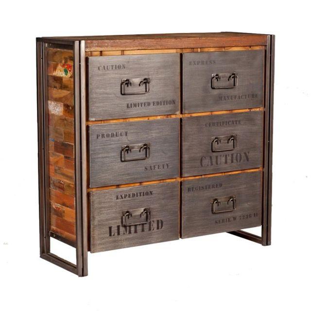 Tousmesmeubles Commode en bois 6 tiroirs - Industry