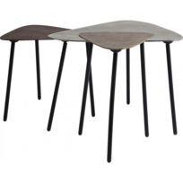 Kare Design - Tables basses gigogne Loft Triangle Vintage set de 3