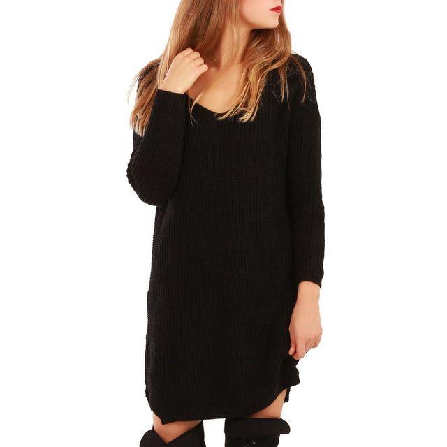 5812ebf651d La Modeuse - Robe pull en maille noire - pas cher Achat   Vente ...