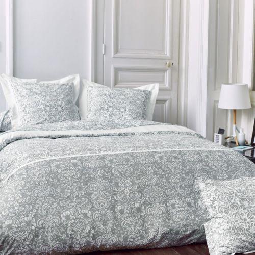 linnea parure de lit 200x200 cm percale pur coton amboise gris 3 pi ces 200cm x 200cm pas. Black Bedroom Furniture Sets. Home Design Ideas
