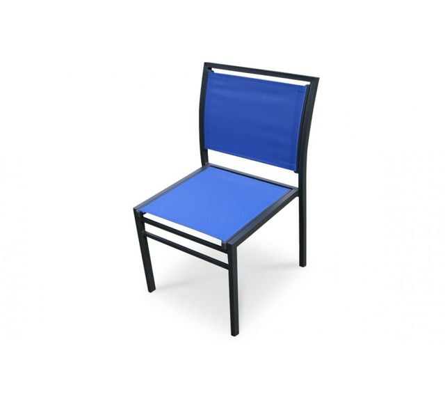 Dcb Garden Chaise aluminium gris anthracite et textilène bleu