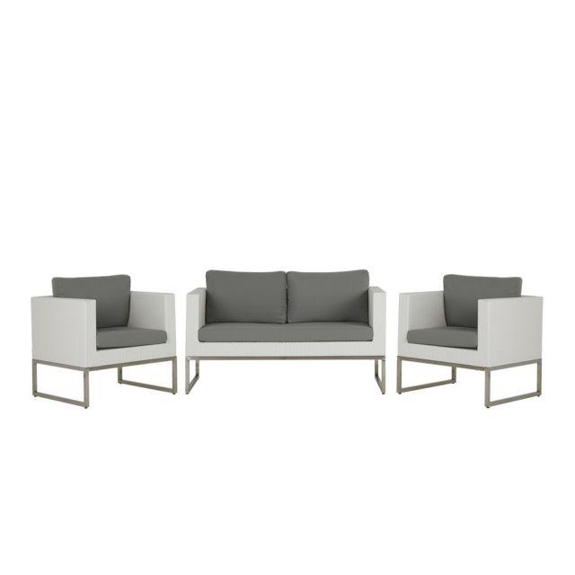 BELIANI Salon de jardin 4 places en rotin blanc avec coussins gris CREMA - blanc