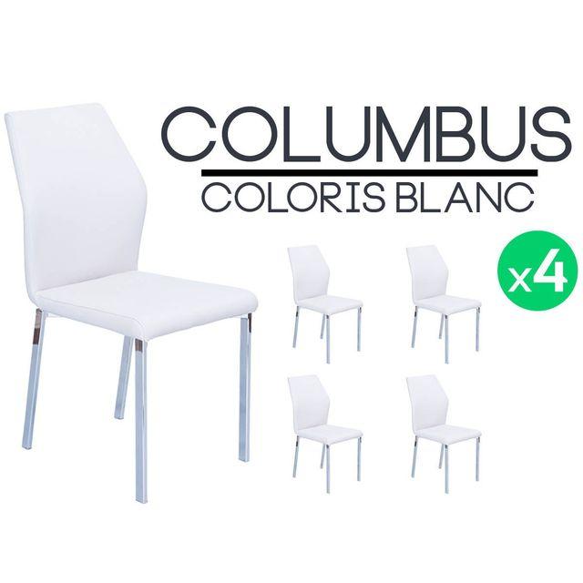 altobuy columbus lot de 4 chaises blanches pas cher achat vente chaises rueducommerce. Black Bedroom Furniture Sets. Home Design Ideas