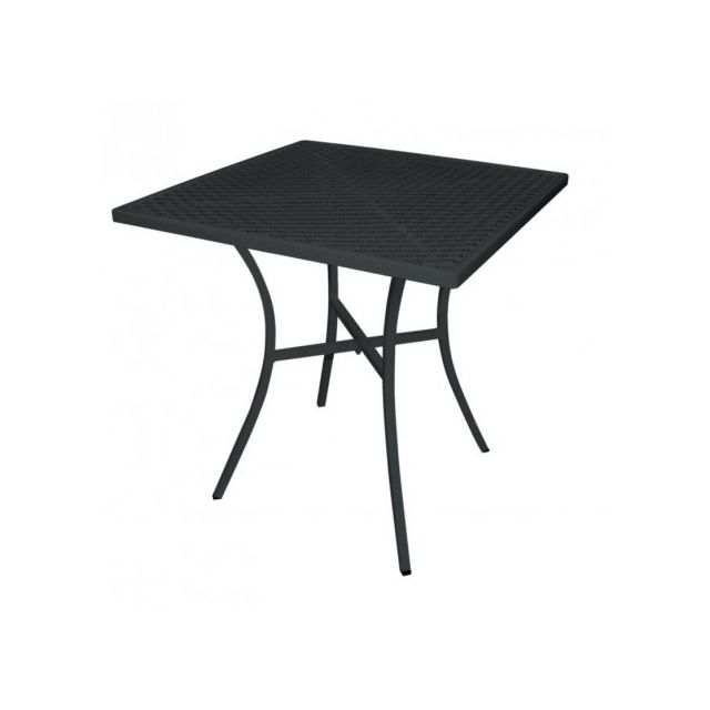 Materiel Chr Pro Table bistro carrée noire en acier ajouré 700 mm - Noir