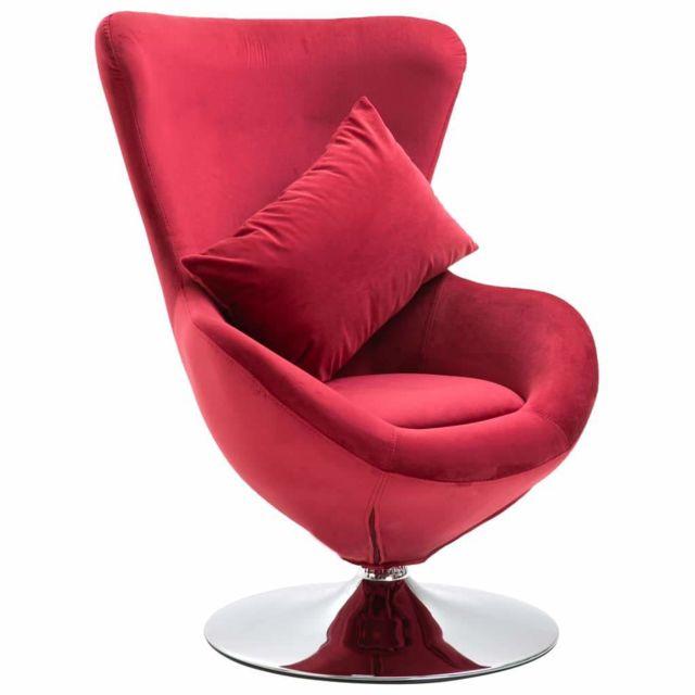 Helloshop26 Fauteuil chaise siège lounge design club sofa salon pivotant en forme d'œuf avec coussin rouge velours 1102199/2
