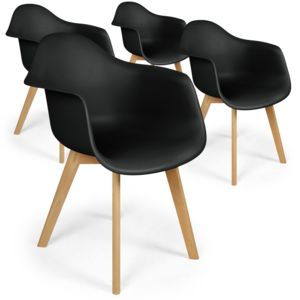 menzzo lot de 4 chaises scandinaves design prado noir pas cher achat vente chaises. Black Bedroom Furniture Sets. Home Design Ideas