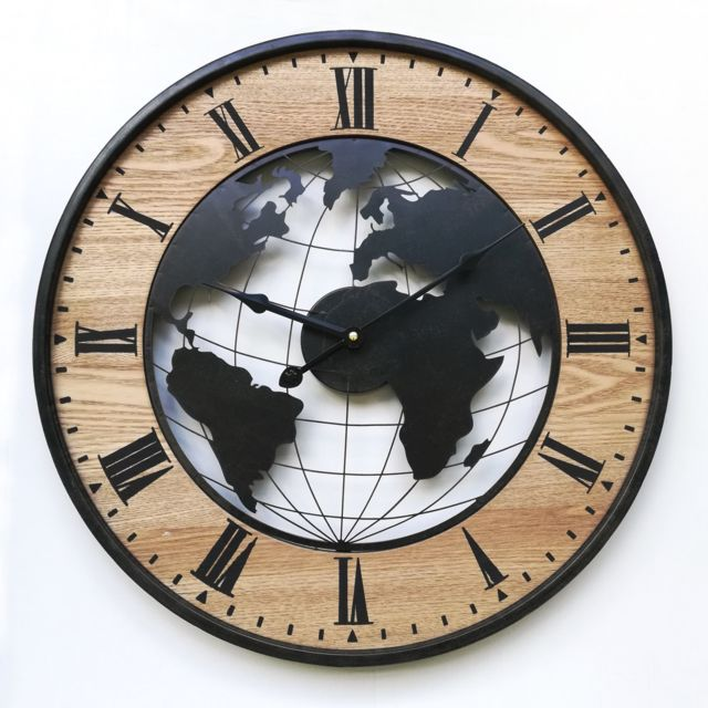 Mobili Rebecca Round Retro Wall Clock Brown Black Mdf Analog 50x50x4,5